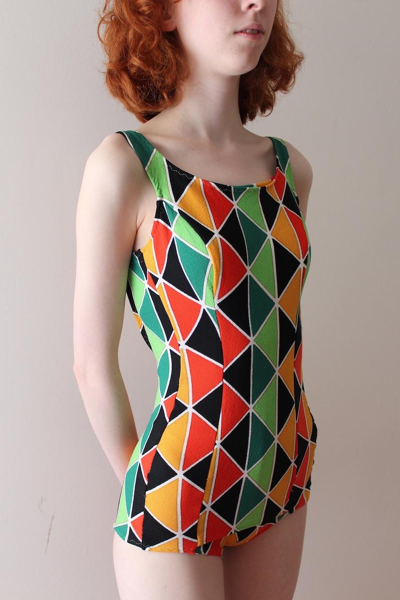 e3c85a5ee2 Vintage 1960s swimsuit // 60s harlequin geometric bathing suit | Etsy