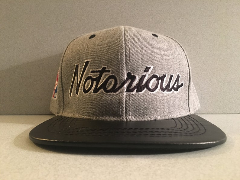 Premium Notorious BIG Snapback Cap Hat Biggie Leather Bill  ab4afd31b74f
