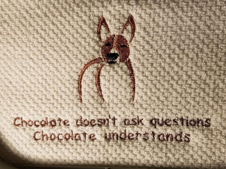 Basenji Chocolate Understands Saying Custom Embroidery Kitchen Towel