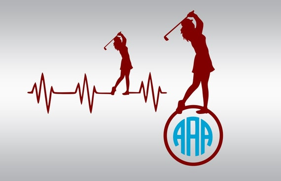 Heartbeat Girl Golf Monogram Svg Golfer Svg Golf Ball Svg Etsy