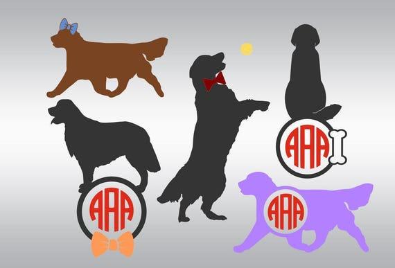 Dog Golden Retriever Silhouette Monogram Svg Love Dogs Svg Etsy