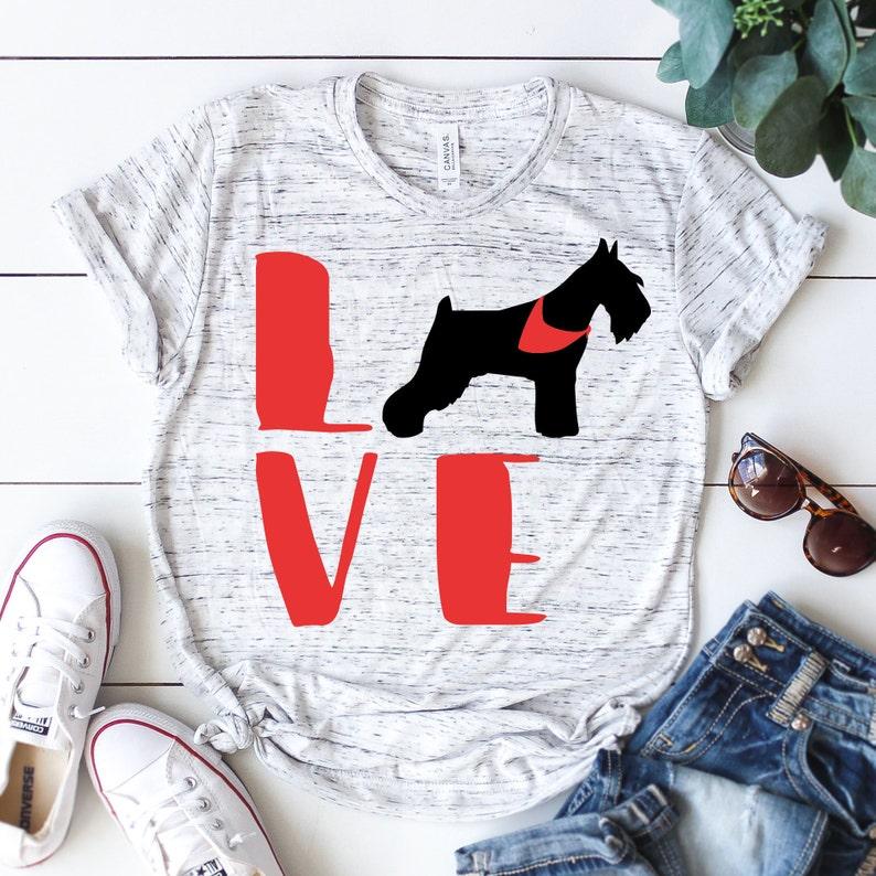 Love Schnauzer Dog With Bandana Svg Schnauzer Silhouette Etsy