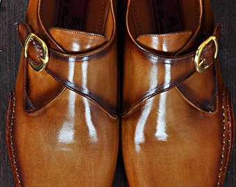 c30f55d4467 TucciPolo Solel-TP Men s Single-Buckle Monkstraps Naturally Tanned Italian  Leather Handmade Luxury Shoes