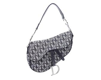 01e57862f488 Christian Dior Trotter Monogram Saddle Bag Vintage 90 s Silver Shoulder  Purse Clutch Blue 00 s Oblique