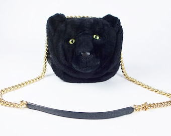 85efad02bbd5 DOLCE   GABBANA DG Millennials Panther Shoulder Black Leather Bag Fur  Crossbody Women