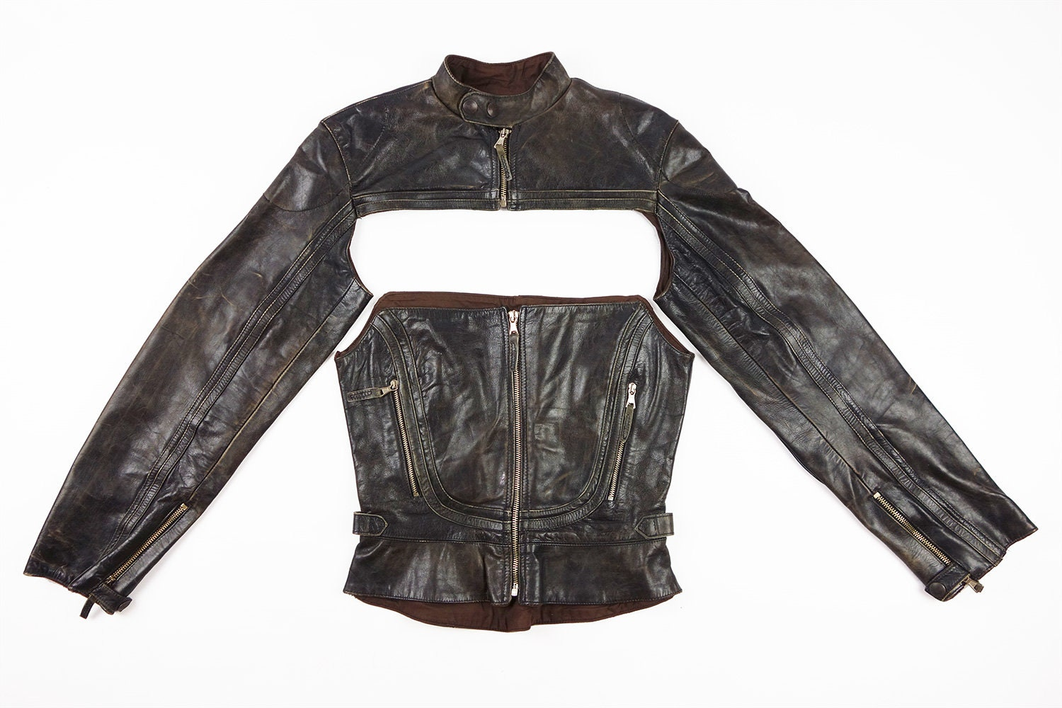 3395913043 Jean Paul Gaultier Leather Moto Detach Corset and Sleeves