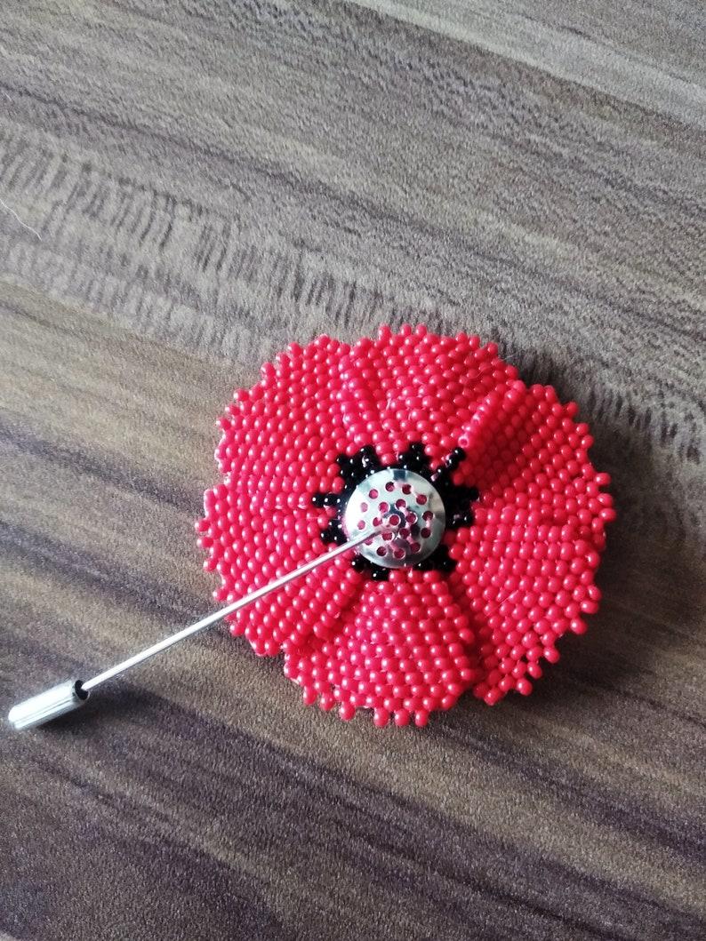 Beaded poppy pin