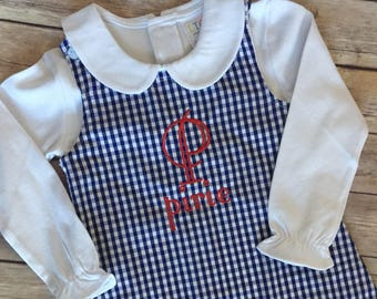 Monogrammed/Personalized Girl's gingham or corduroy jumper dress