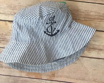 0ed64a4ab545e Infant Toddler seersucker sun bucket hat