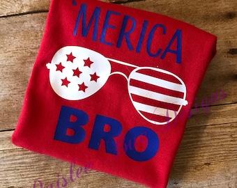 4th of July Shirt, 'Merica Bro Shirt, 'Merica Shirt, Labor Day Shirt, Memorial Day Shirt, Personalized 4th of July Shirt, Boys 4th of July