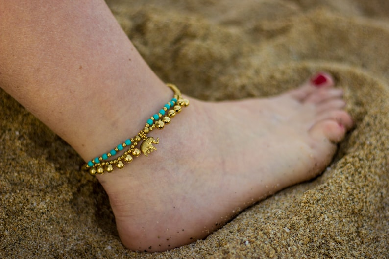 Elephant anklet and oriental style stone