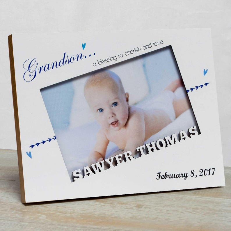 8a0310ee2cf Personalized Baby Picture Frame, Baby Boy Picture Frame, New Baby Boy  Frame, Grandparents Picture Frame, Baby Frame For Boys, Grandson Frame