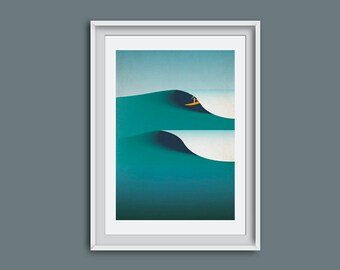 Surf art, surf gift, surfing, retro art, wall art, surf decor, surf illustration, Cornwall, surfer, giclee, ocean art, waves, surf girl