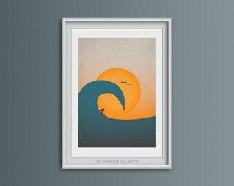 Giclee art print of surfer, Beach themed art, Sunset beach, Vibrant wall art