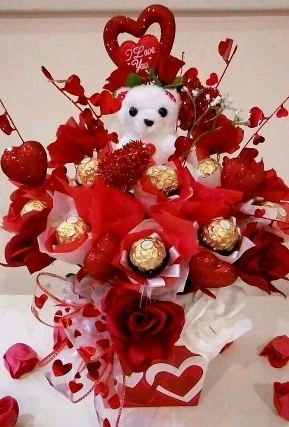Geschenk-Korb Ferrero Rocher Schokolade Rosen Blumenstrauß | Etsy