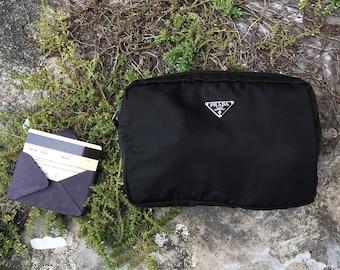 0cbd4d88bee284 Mark Down!!! Authentic PRADA Tessuto Saffiano Black Nylon Small Toiletry  Case Clutch Bag Unisex