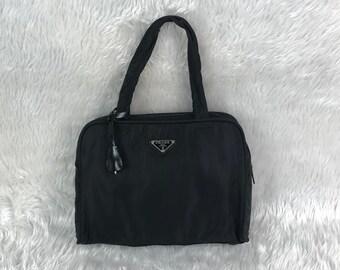 b8a225a0cde5 Authentic Vintage 90 s PRADA Vela Tesutto Black Nylon With Padlock   Keys