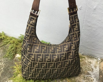 c59251c627a79 Authentic Vintage FENDI Zucca Signature Monogram Canvas Large Shoulder  Handbag