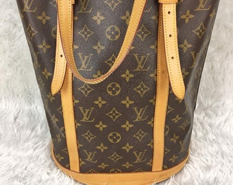 Authentic Vintage 90 s LOUIS VUITTON Classic Monogram Bucket GM Large Tote  Shoulder Bag 3de95ebce77b6