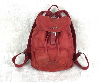 a86dbf0c9884 Vintage Authentic PRADA Milano Made in Italy Red Nylon Mini Backpack
