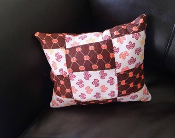 Fall Patchwork Leaf and Pumpkin Decorative Pillow