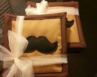 Quilted Cotton Fabric Mustache Coaster, set of 4