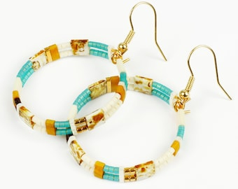 24K Gold Plated Gifts Earrings with 24K GOLD Plated Hooks and Beads; LIGHTWEIGHT Hoop Earrings UK, Gifts For Her,Birthday Friends Ohrringe