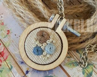 Blue & Brown Flowers Cross Stitch Pendant Necklace