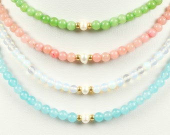 PEARL and Agate Gemstone Bead Necklace HANDMADE with Freshwater Pearl - Green,Blue,Pink,Opalite Moonstone, Christmas Gifts For Friends