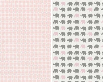 Quilt-Pink-Gray-Elephant-Burp Cloth-Baby Blanket-Quilt