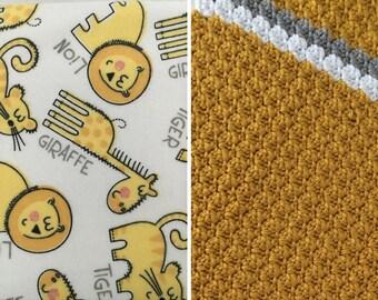 Tiger-Lion-Blanket-Lion-Tiger-Yellow-Gray-White-Minky-Baby Blanket-Layette Set