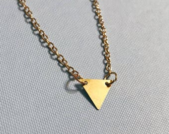 Gold triangle charm necklace, adjustable chain