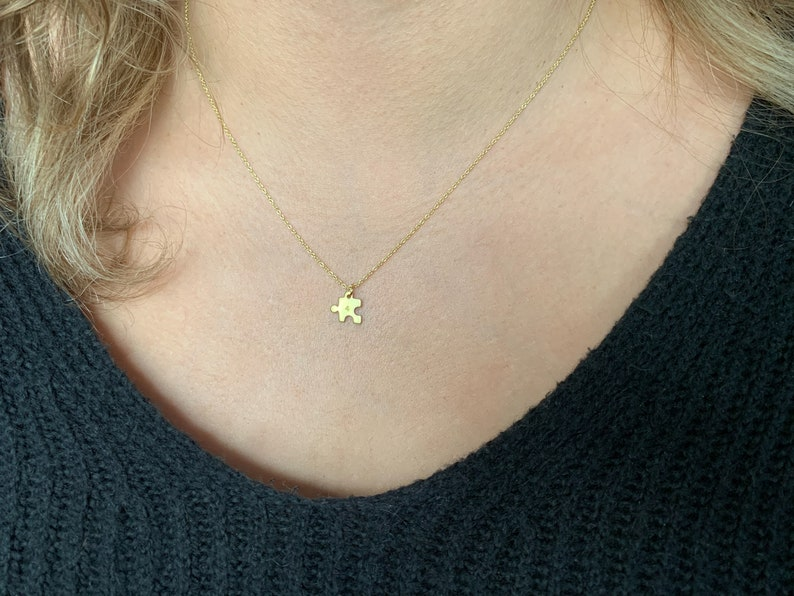 Valentine/'s Day Gift Personalized Number Tiny Puzzle Piece Necklace Matching Necklaces Gifts for Her