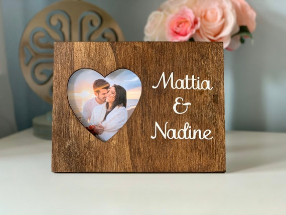 Personalised Gift for First Anniversary Valentines Day PHOTOGRAPH HEART TEXT