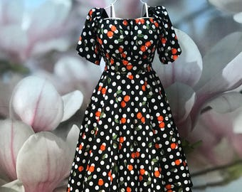 Cherry and Dots dress, Off shoulder, Spanish, Floral, Black dress, Cherries, Polkadot