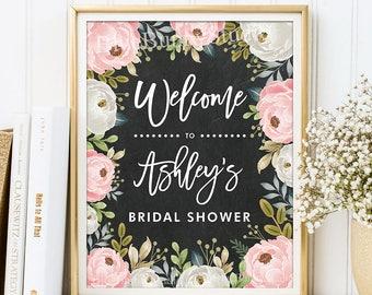 bridal shower welcome sign bridal shower decoration blush pink floral wedding shower decoration rustic wedding chalkboard sign plt2