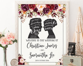 Romantic Wedding Welcome Sign. Vintage Jane Austen Wedding Tea Party Bridal Shower Decorations. Autumn Fall Floral Photo Booth Prop. PP1