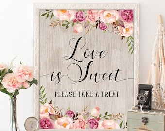 rustic floral bridal shower decorations love is sweet printable sign shabby pink flowers wedding shower decor garden party fl6b