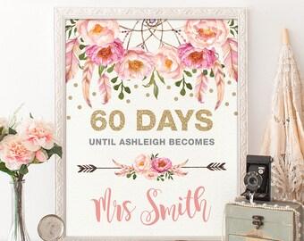 Days Until Mrs Floral Bridal Shower Sign. Pink Gold Bohemian Flowers Days Until Wedding. Boho Bridal Shower Decor. Days Until I Do. FLO12A