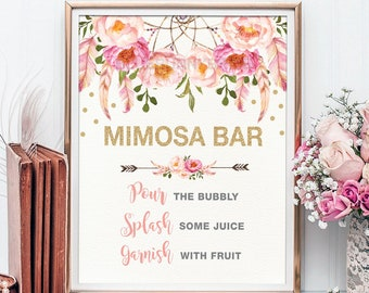 Pink And Gold MIMOSA BAR Printable Sign Floral Bridal Shower Dreamcatcher Rustic Flower Decoration Decor FLO12A
