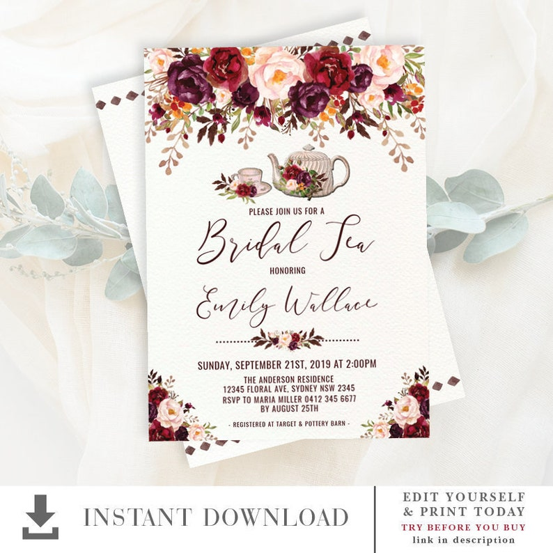Rustic Bridal Tea Party EDITABLE Invitation Floral Wedding Shower Invite Autumn Burgundy Blush Flowers High Printable Download FLO19