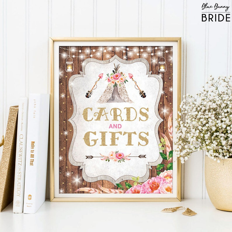 95d88a46d96 Rustic Boho GIFTS   CARDS Sign. Tribal Bohemian Teepee Bridal