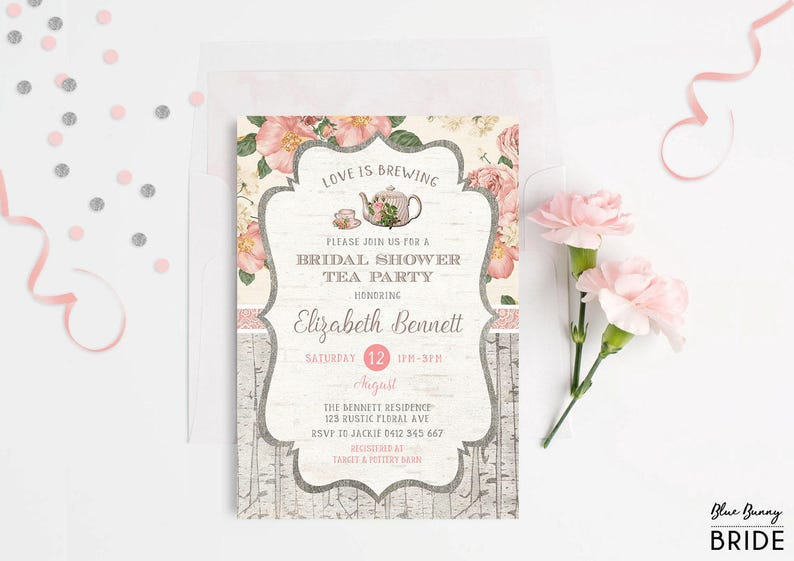 BRIDAL SHOWER INVITATIONS PERSONALISED INVITE FLORAL PINK HIGH TEA FLORAL HENS