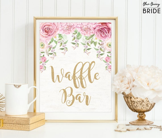 Waffle Bar Sign Pink Gold Boho Roses Bridal Shower Decor Watercolor Floral Waffle Bar Diy Wedding Decor Decorations Favor Signs Ro1