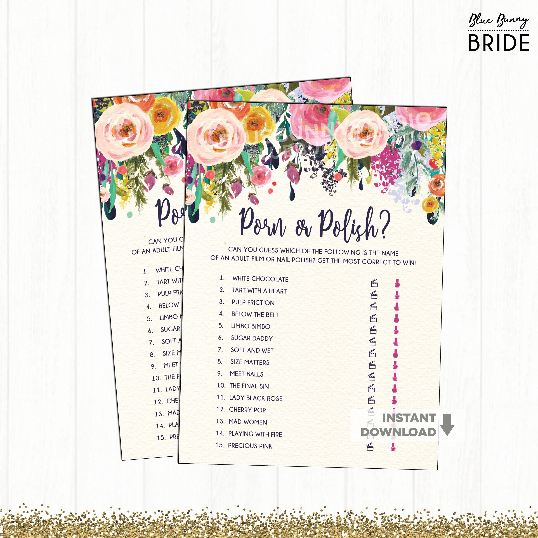Floral Porno Eller polsk Bridal Shower spil Garden Wedding Etsy-8396