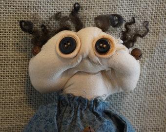 Primitive Folk Art Rag Doll, Shabby Chic, Log Cabin, Farm House Decor, Americana, Rural, Rustic, Shelf Sitter, Cupboard Tuck