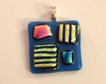 Blue and Multicolored Square Glass Pendant