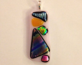 Light Pink and Multicolored Rectangle Glass Necklace Pendant