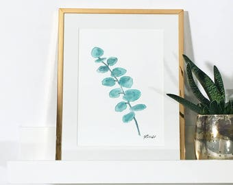 Watercolour Print Eucalyptus Gum Leaf