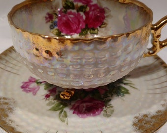 GC Japan Tea Cup and Saucer Dark Pink Roses -Fine China #2YD327